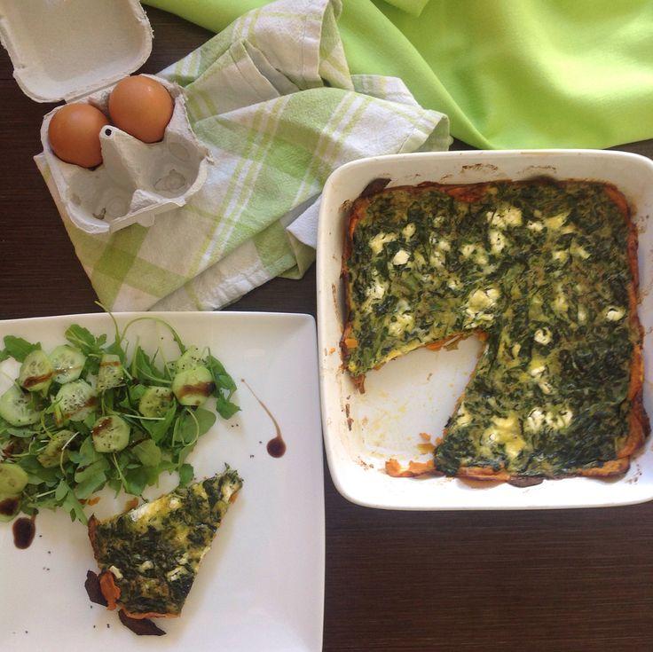 Ομελέτα φούρνου με σπανάκι και φέτα πάνω σε κρούστα γλυκοπατάτας #quiche #spinach #feta #sweetpotatoe