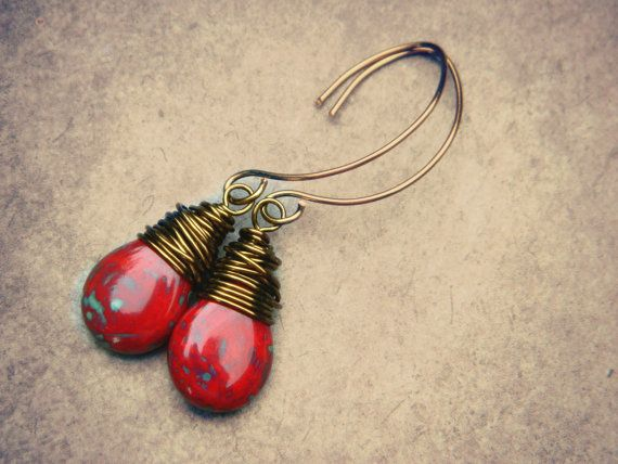 Drop Earrings  Red Czech Picasso Teardrop by ColorfulJewelry4U