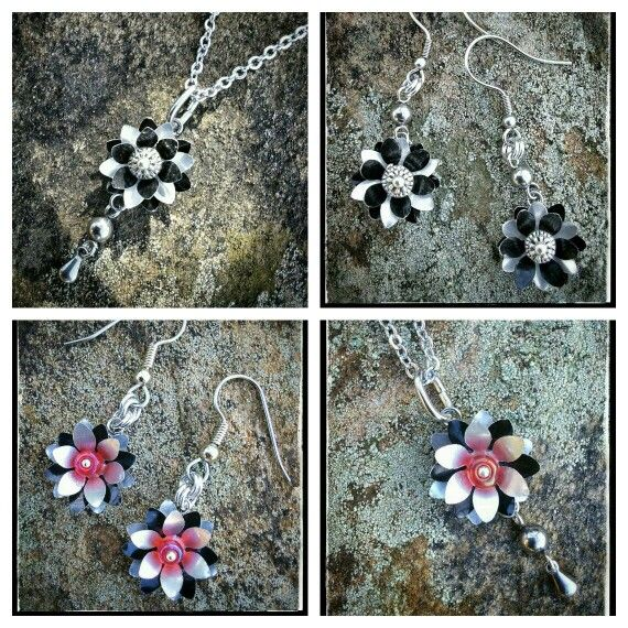 Earrings and pendants made from soft drink can aluminium