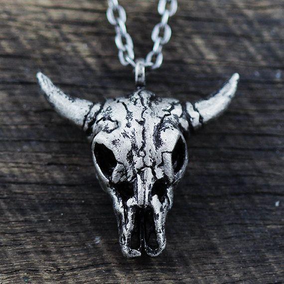 Silver Skull Necklace Rustic Antique Oxidized Mens Pendant