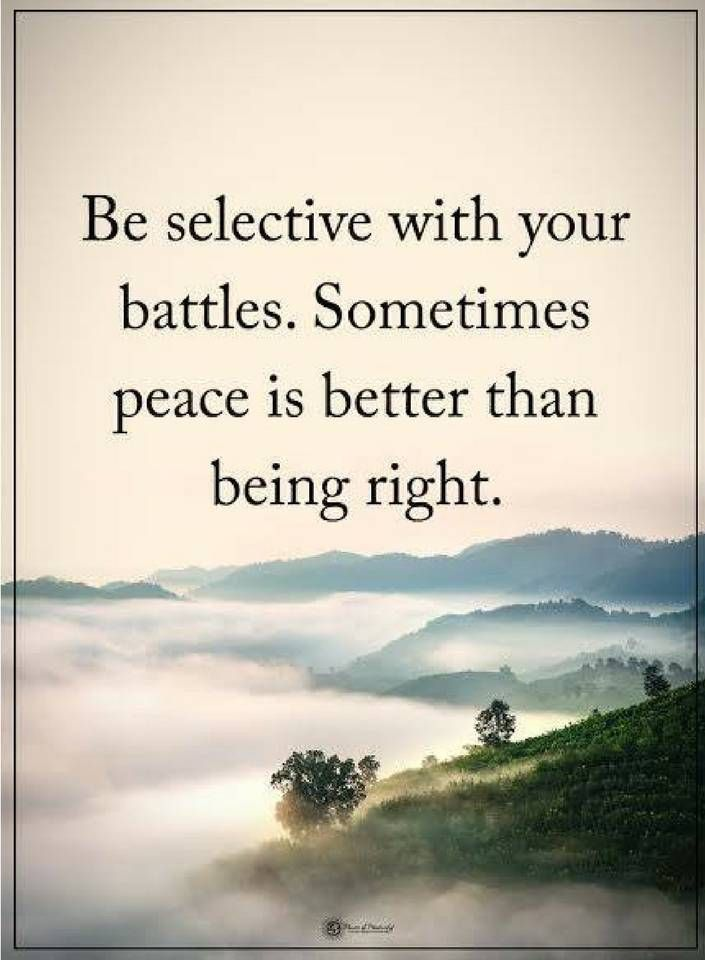 peace quotes Be selective with your battles. Sometimes peace is better than being right.
