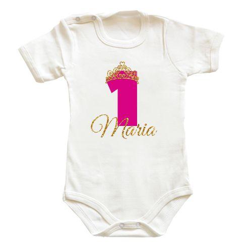 Body bebe pentru bebeluse cu o diadema sclipitoare de printesa si cifra 1…