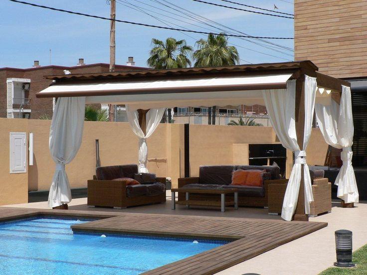 Exterior piscina terraza moderno paisajismo via - Terrazas con pergolas ...