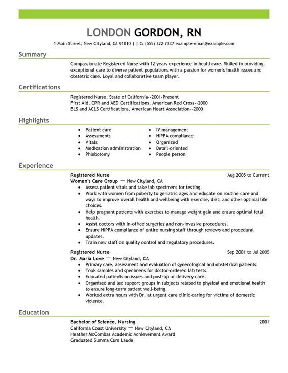 registered nurse resume sample - Nurse Resume Examples