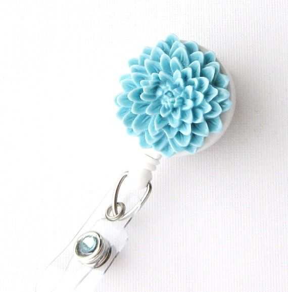 Sky Blue Flower Nurse ID Badge Holder  RN Badge Reels by BadgeBlooms, $8.00