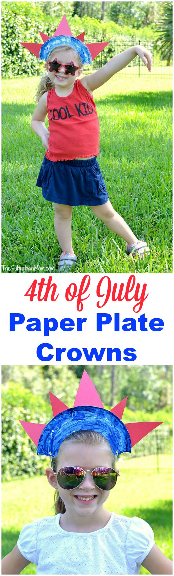 A quick and easy 4th of July kids craft - a 4th of July Paper Plate Crown. Let your kids help make this simple craft that doubles as a fashion accessory.