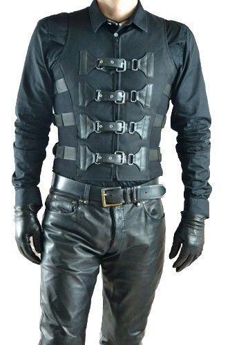 Gothic Cyber Herren Weste mit Schnallen Waistcoat Uniform Punk