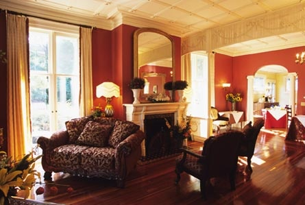 The Landmark Inn living room…perfect for relaxing in front of the fireplace, visiting with family & friends, or watching a movie on our flat screen TV! #landmarkinn #Cooperstown #bedandbreakfast