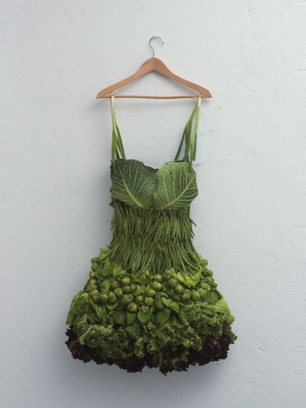 Sarah Illenberger Veggie Dress This dress looks like it could actually be worn.  I think it is saying all you need to do is eat veggies and you can fit in a dress like this.  It states something about the times we live, making it art.