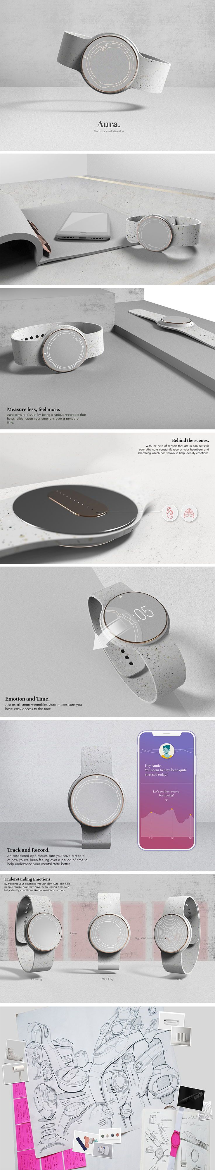AURA is a twist on wearable tech that isn't focused on your steps or trying to help you build muscle, rather, it's aim is to help you master your mental fitness! Designed for anyone struggling with mental illness, depression or distress, it uses biometric sensors to detect stress, anger, sadness and happiness.