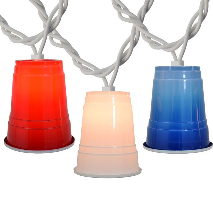 Patriotic Solo Cup Novelty String Lights Celebrate your 4th of July party with the latest Red, White & Blue Solo Cup party string lights! This patriotic light set is perfect for decorating for any American holidays throughout the year, including Memorial Day, 4th of July, Labor Day, and Veterans Day. As part of the trending solo cup sensation, these red white and blue party cup lights are the best decoration for any party! Each light set comes with 10 red, white & blue solo cups #oogalights