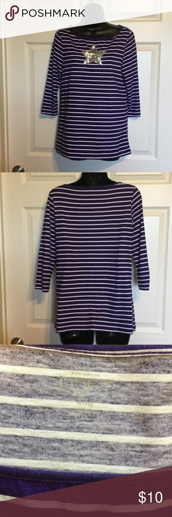 Ann Taylor loft Petites blouses 👚 Pretty purple with shining star color top Tops Tees - Long Sleeve