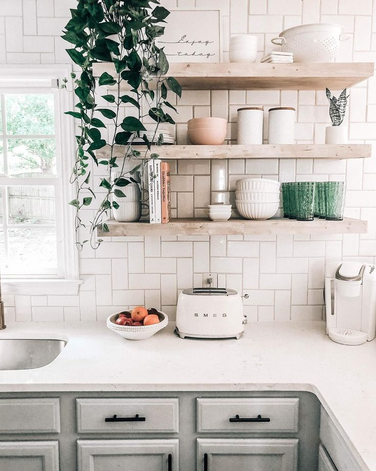 natural light wood floating shelves open shelving in kitchen white subway tile on kitchen floating shelves id=81702