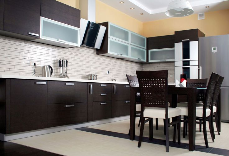 Appealing Modern Kitchen Cabinet Doors with Black Wood Material feat Gorgeous White Wooden Countertop Ideas Plus Charming White Subway Tile Backsplash Design