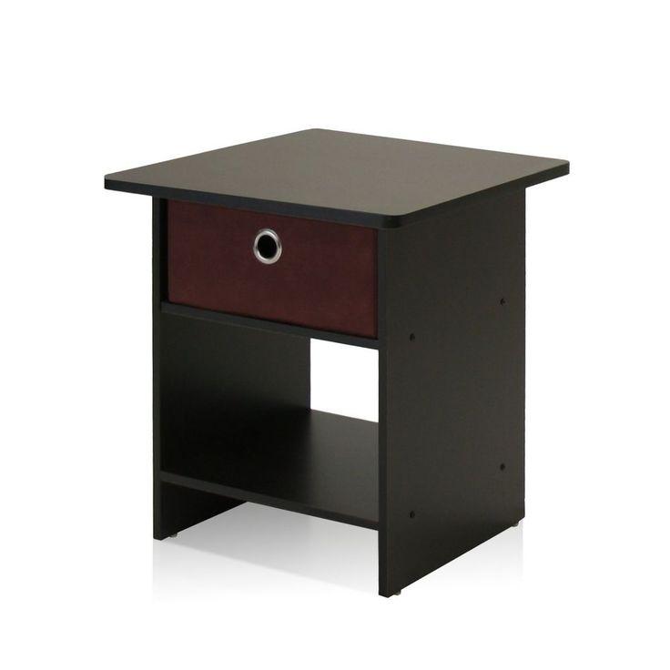 Storage End Table Bedside Nightstand Bedroom Furniture W/ Bin Drawer Espresso #StorageEndTable #Modern