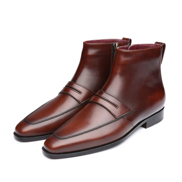 431.00$  Know more  - TERSE_2017 Winter boots handmade Italian calfskin genuine leatehr fashion ankle boots for men burgundy coffee color high quality