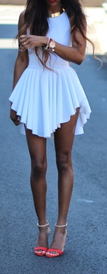 Gorgeous street style inspiration the white summer sexy pleated min dress with stylish ladies sandals and gold necklace & watch the perfect ...