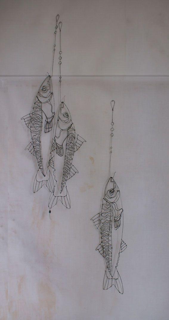 objets fils de fer sculptures et objets: poisson . Catherine Gonthier