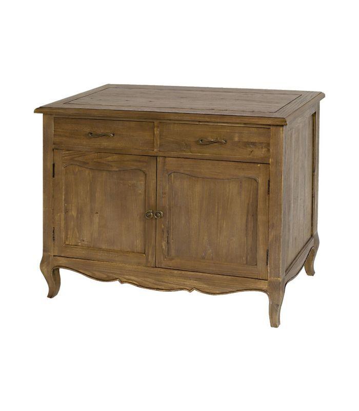 Aparador clásico con dos cajones y dos puertas de madera color marrón. Dimensiones 106x85x48