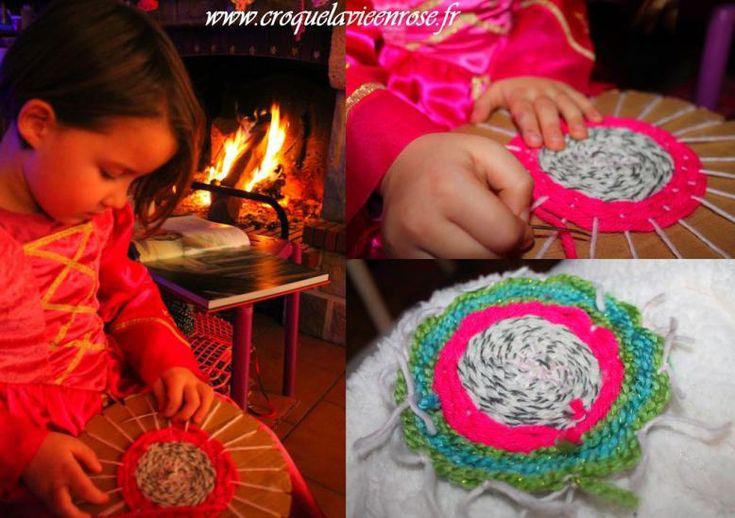 DIY Tissage circulaire » croquelavieenrose.fr - pour tisser des jolis petits napperons : pour mettre un peu de douceur dans notre intérieur