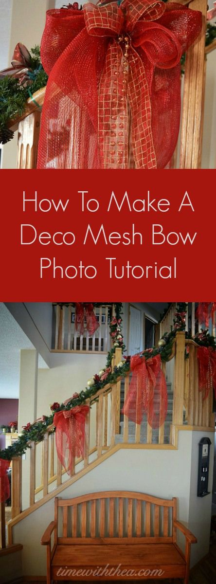 How To Make A Deco Mesh Bow Photo Tutorial ~  Step-by-step instructions showing how to make a stunning large bow using deco mesh, ribbon and bead garland! / timewiththea.com