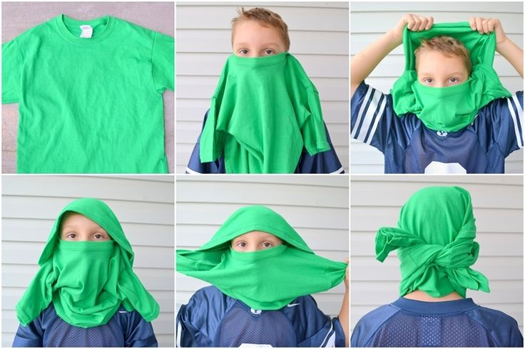 ninja mask out of a t-shirt. We did this at bday party with 2 teams. Red vs green. Then played games against each other!