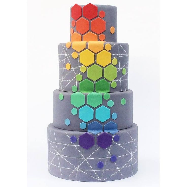Awesome Hexagon Design cake by Sugar Mill Cake Co, using the colors of the rainbow