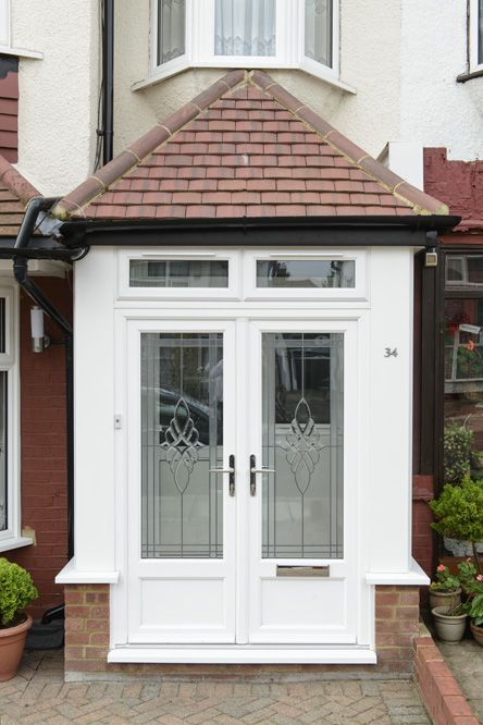 Best 25 upvc porches ideas on pinterest for Small double front doors