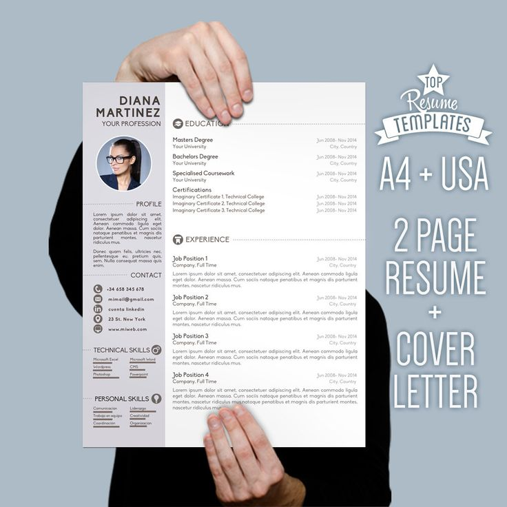 Resume Template Desing + Cover Letter 2 page CV A4 & USA Letter / Creative Resume, Professional Resume Template, Modern Resume, CV