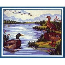 Collection D'Art 6.237 Trio of Duck on a Lake Tapestry Canvas