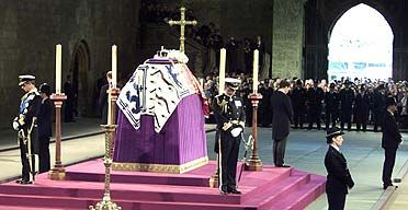 The Vigil of the Princes is the unofficial name given to two occasions when male members of the British Royal Family have stood guard during the lying in state of one of their relatives during a British State Funeral.    Prince Charles (left), Prince Andrew (second left), Prince Edward (right) and Viscount Linley stand vigil at the coffin of the Queen Mother