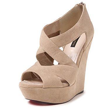 De las mujeres del ante del talón de cuña de la plataforma zapatos de las sandalias (más colores) – USD $ 39.99
