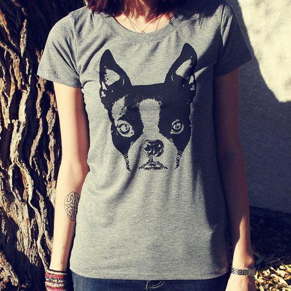 Boston Terrier French Bulldog T-Shirt Screen by pixelandtwig