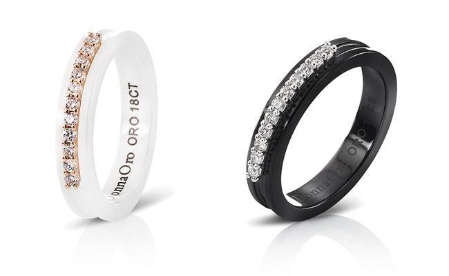 Ceramica......anelli in ceramica bianca/nera, oro rosa/bianco e diamanti taglio brillante.  Gioielleria F.lli Cappon Torino
