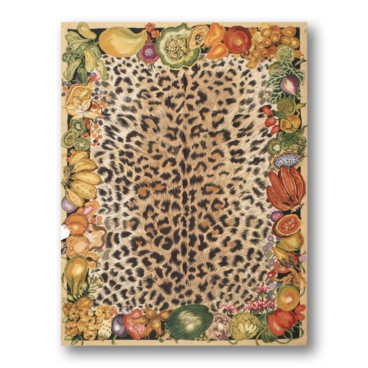 "Farmhouse Novelty Cheetah-print Multicolor Needlepoint Aubusson Wool Rug (4'4 x 5'10) (4'4""x5'10"" Needlepoint Aubusson Cheetah Print), Multi, Size 4' x 6'"