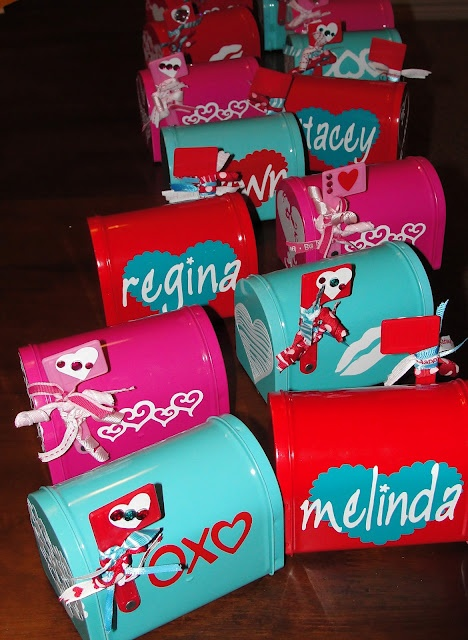 Mailboxes that I tricked out for some of my teammates at work for Valentine's Day.  Got the little boxes at Target in the dollar bin.