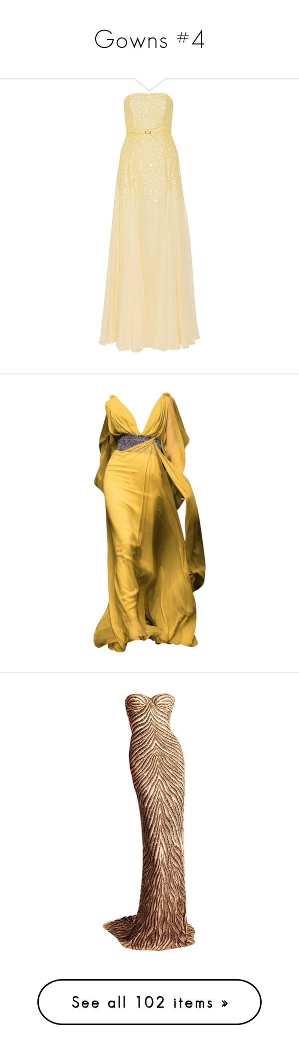 """""""Gowns #4"""" by colonae ❤ liked on Polyvore featuring dresses, gowns, long dresses, evening gowns, yellow, yellow ball gown, sequin dress, strapless gown, sequin bustier and yellow evening gown"""