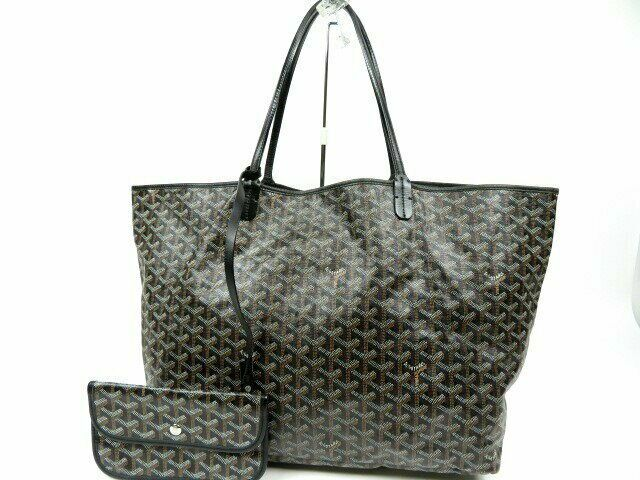 Details About Goyard Saint Louis Gm Hand Tote Bag W Pouch Black Leather Used Ex In 2020 Bags Tote Bag Black Tote Bag