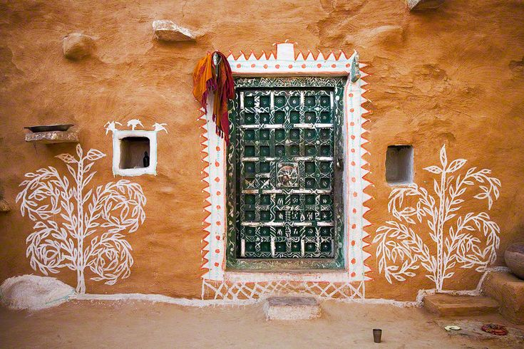 Village House Wall Paintings Rajasthan India Beauty Of