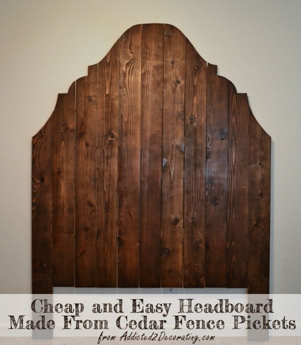 Cheap and easy headboard made from cedar fence pickets