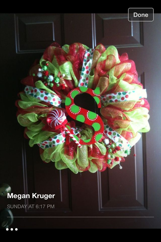 Christmas Deco Mesh Wreath I Made For About 20 From Hobby