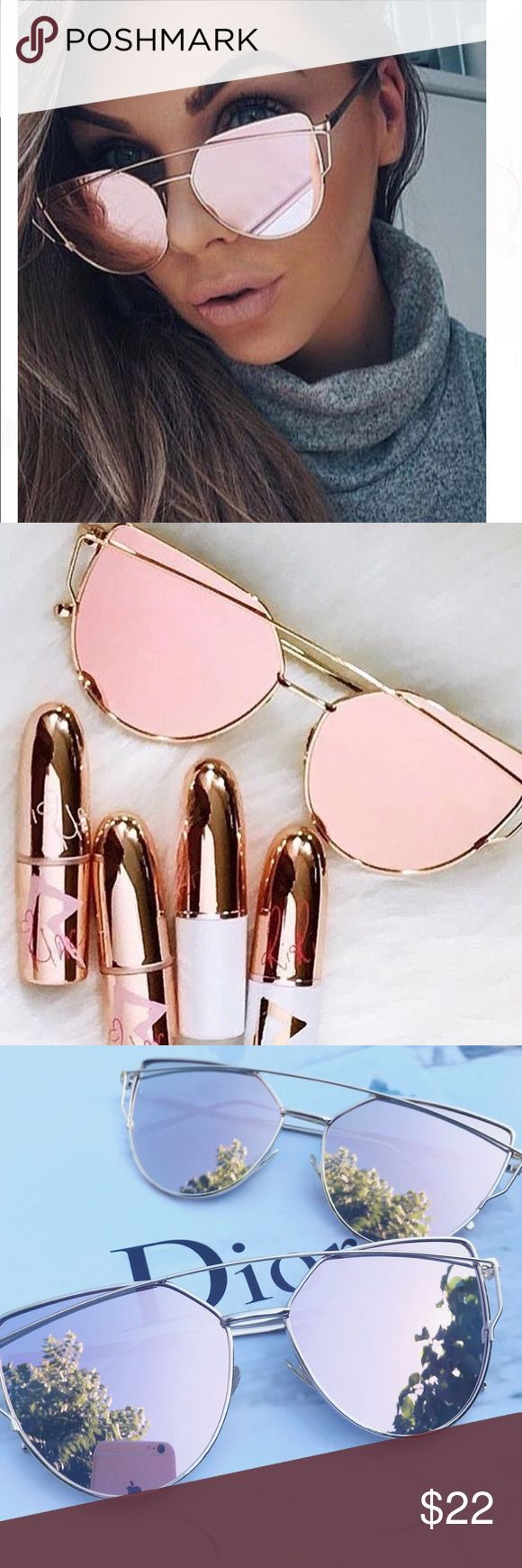 •JUST IN• Rose gold mirror sunglasses Best seller! Rose gold mirrored cat eye sunglasses with UV protection.  trades Accessories Sunglasses