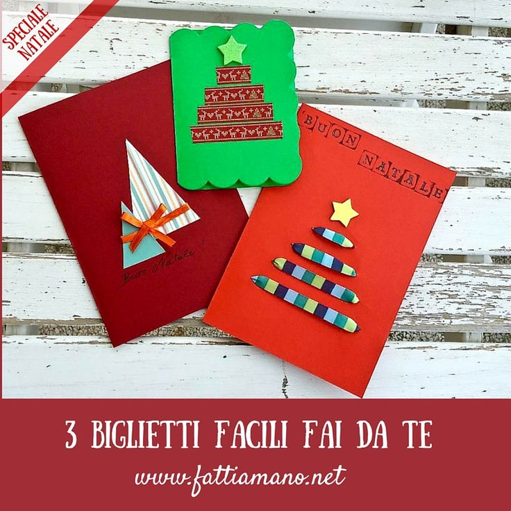 Biglietti Natalizi fai da te con cartoncino, nastro e washi tape. 3 idee diverse con tutorial in italiano per realizzarli facilmente.