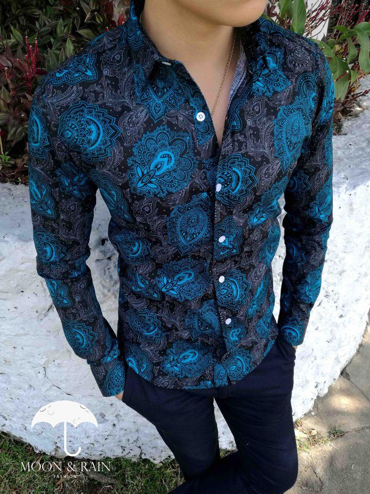 Camisa Negra de Flores Aqua para Hombre - TIENDAS PLATINO