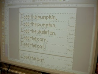 Predictable chart on the smartboard. Just type each word as students talks.