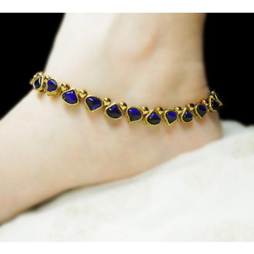 Blue Kundan Anklet - Online Shopping for Anklets by Heartstrings by Jyoti Sudhir