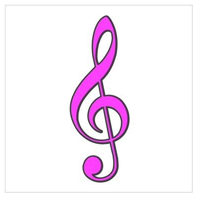 Retro Hot Pink Treble Clef Poster