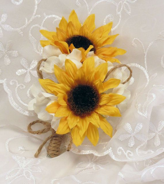 Sunflower Corsage With Hydrangeas and Twine Made to Order Mother's Day Prom…