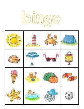 Plaatjes bingo | thema ZOMER(VAKANTIE)
