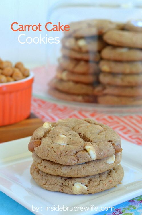 Carrot Cake Cookies - these easy carrot cake cookies start with a cake mix and are full of caramel and white chocolate
